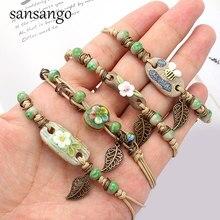 Retro pulseira feminina flor folha cerâmica feito à mão diy pulseiras artware para mulher menina presente jóias atacado