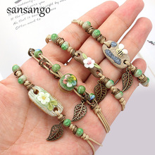 Retro Bracelet Women's Flower Leaf Ceramic  Hand Made DIY Bracelets Artware  For Woman Girl Gift Jewelery Wholesale