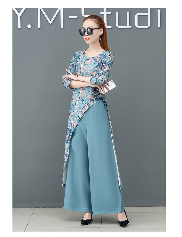 Printed Two Piece Sets Outfits Women Plus Size Splicing Long Tops And Wide Leg Pants Suits Elegant Office Fashion Korean Sets 53