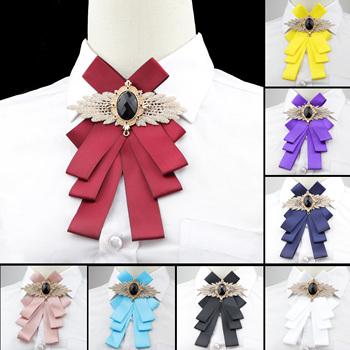 Kobiety gładka muszka wspaniała Vintage Chic Bowtie elegancka biżuteria kołnierz Cravat regulowana odpinana obroża koszula akcesoria tanie i dobre opinie WOMEN Moda Poliester Dla dorosłych Krawaty 17*11cm Stałe