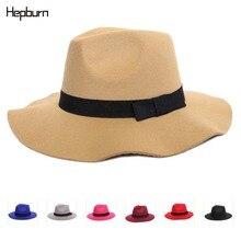 Хепберн бренд фетр джентльмен элегантный леди фетровый, Джазовый кепки удобные женские мужские бейсболка с меховым помпоном Шерстяная Смесь шапка
