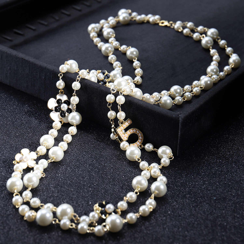 Donne lunghi pendenti a strati collana di perle collares de moda 2020 lettera N 5 del fiore del partito dei monili