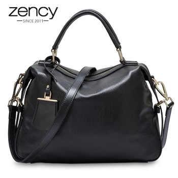 Zency 100% Genuine Leather Handbags Fashion Women Tote Bag Female Boston Charm Luxury Messenger Crossbody Purse Shoulder Bags - DISCOUNT ITEM  51% OFF All Category