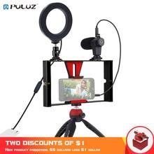 Puluz 4 In 1 Vlogging Live uitzending Smartphone Video Rig + 4.6 Inch Ring Led Video Light & Microfoon + statief Mount + Statief Hoofd