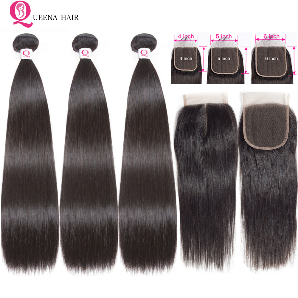 Queena Human Hair Bundles With Closure 4x4 5x5 6x6 Lace Closure And 3 Bundles Remy Brazilain Straight Hair Bundles With Closure
