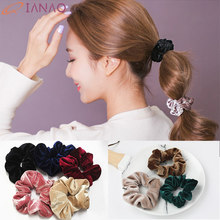 QIANAO 36 Solid colors Velvet Scrunchie Women Girls Elastic Rubber Hair Band Headband Hair Ring Ponytail Holder Hair accessories(China)