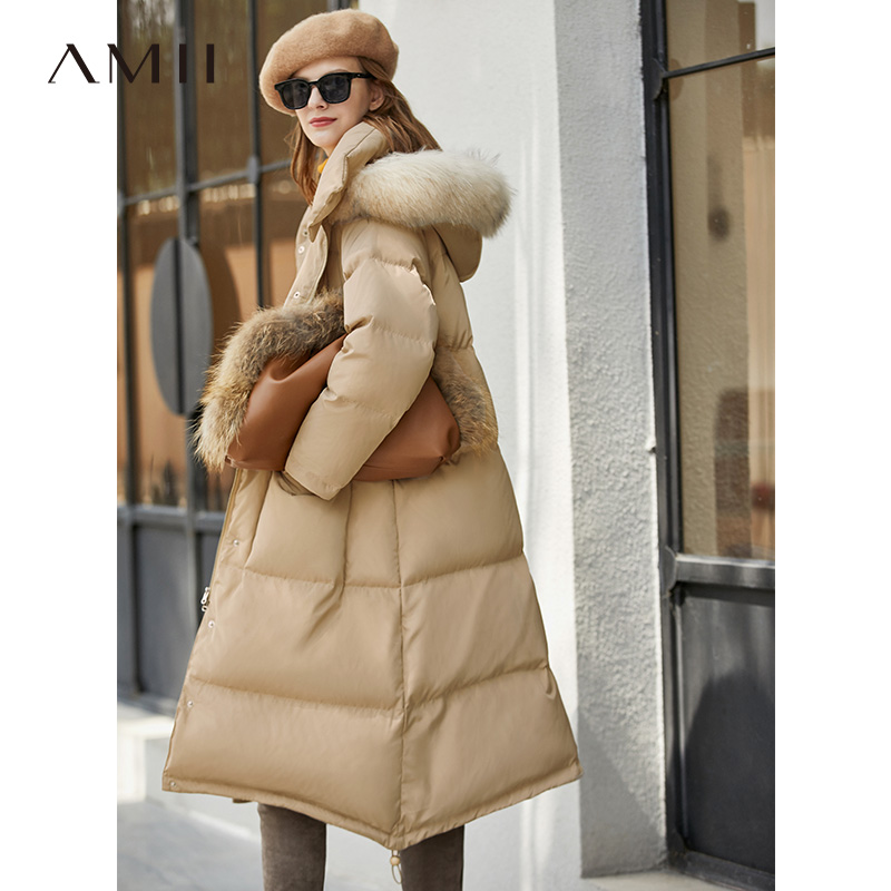 Amii Minimalism Winter Fur Collar Down Jacket Women Causal Thick Long Coat 11940550