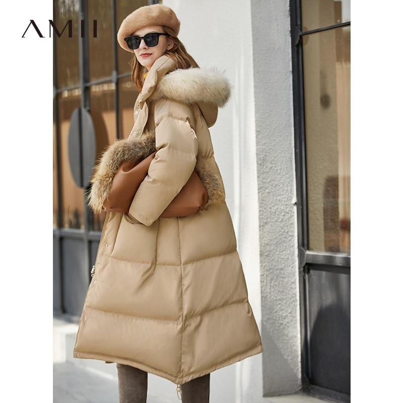 Amii Minimalism Winter Fur Collar Down Jacket Women Causal Thick Long Coat 11940550