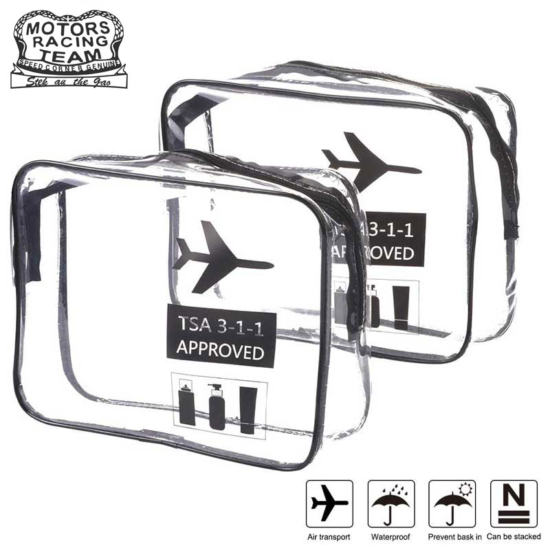 Clear Toiletry Bag TSA Approved Travel Carry On Airport Airline Compliant Bag Quart Sized 3-1-1 Kit Luggage Pouch Luggage Trave