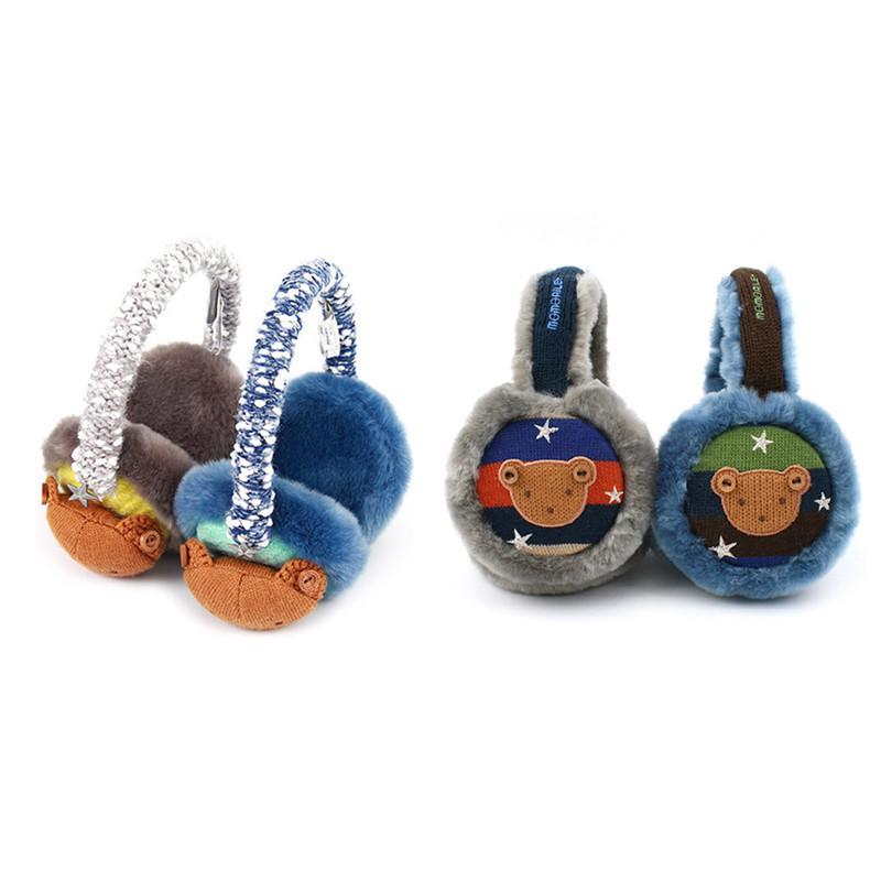 Korean Winghouse Children Earmuffs Cute Cartoon Bear Ear Bag Boy Winter Warm Windproof Earplug