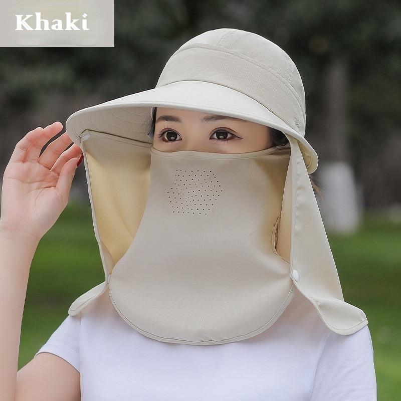 Sun Hat Women Big Brim Sunblock Cap Female Summer Ride Face Shade Ultraviolet Mask Protective Picking Tea Girls Climbing Bonnets