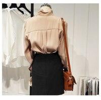 High quality!Autumn new fashion long sleeve bow chiffon shirt women's pure color vintage shirt lady silk satin shirt TB3190