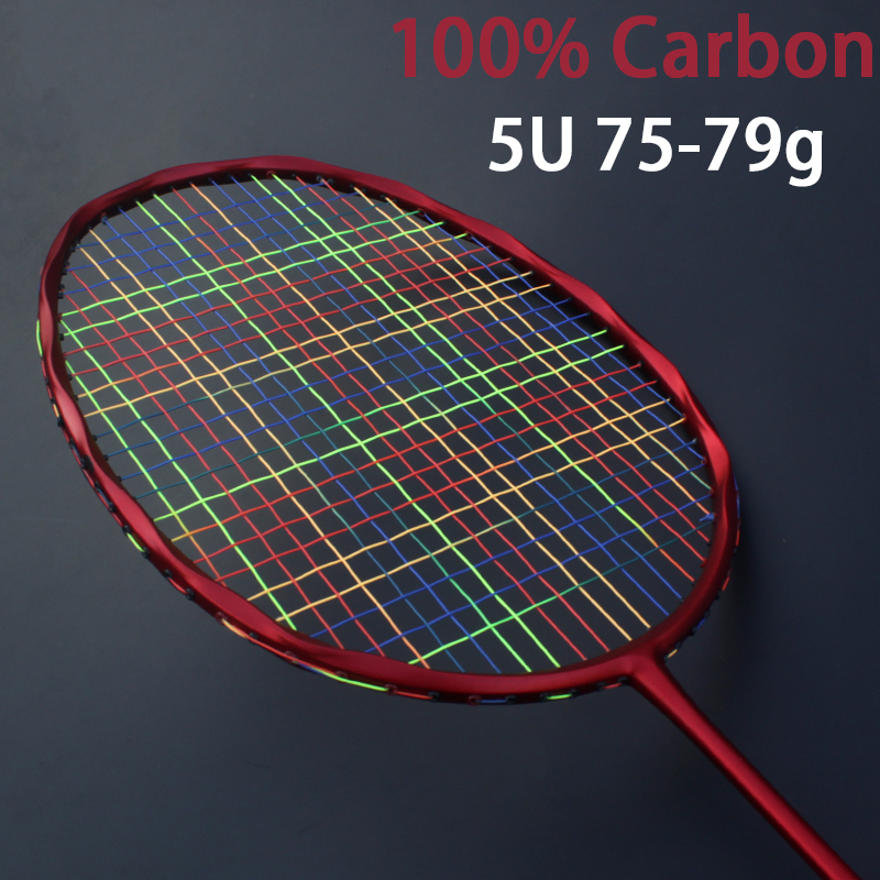 Ultralight 5U 75-79g Carbon Fiber Colorful Strung Badminton Rackets Offensive Type Racket Sports With Bag Strings Racquet Speed