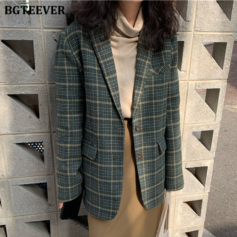 BGTEEVER Vintage Single-breasted Women Blazer Jacket 2019 Winter Female Suit Coat Loose Pockets Warm Plaid Blazer Femme