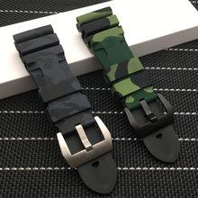 24mm 26mm camuflagem colorido silicone borracha relógio banda substituir para panerai pulseira relógio pulseira à prova dwaterproof água livre ferramentas