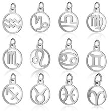 Ailodo Fashion DIY 12 Constellation Necklace Pendants Stainless Steel Zodiac Sign Charms Never Fade Jewelry Accessories LD375