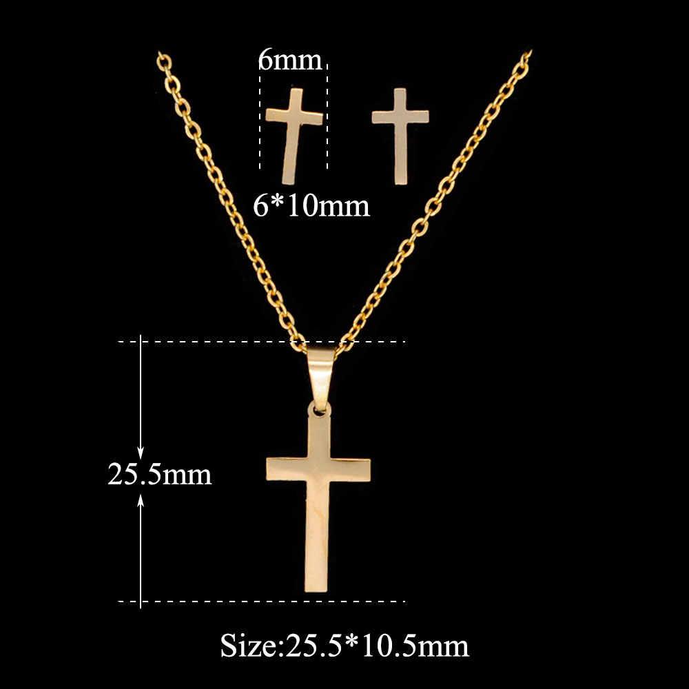 Ouro cheio colar conjunto de aço inoxidável espelho polonês cruz alta qualidade, estrela david coração relâmpago borboleta