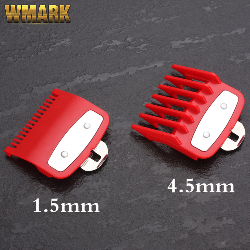 WMARK G-2 Guide Comb Sets 1.5 And 4.5 Mm Size Red Color Attachment Comb Set With A Metal Holder For Professional Clipper