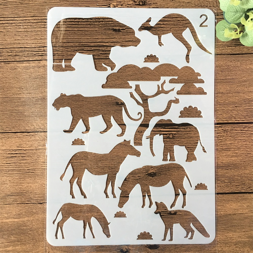 A4 Elephant Animals Zebra Kangaroo DIY Craft Layering Stencils Painting Scrapbooking Stamping Embossing Album Card Template