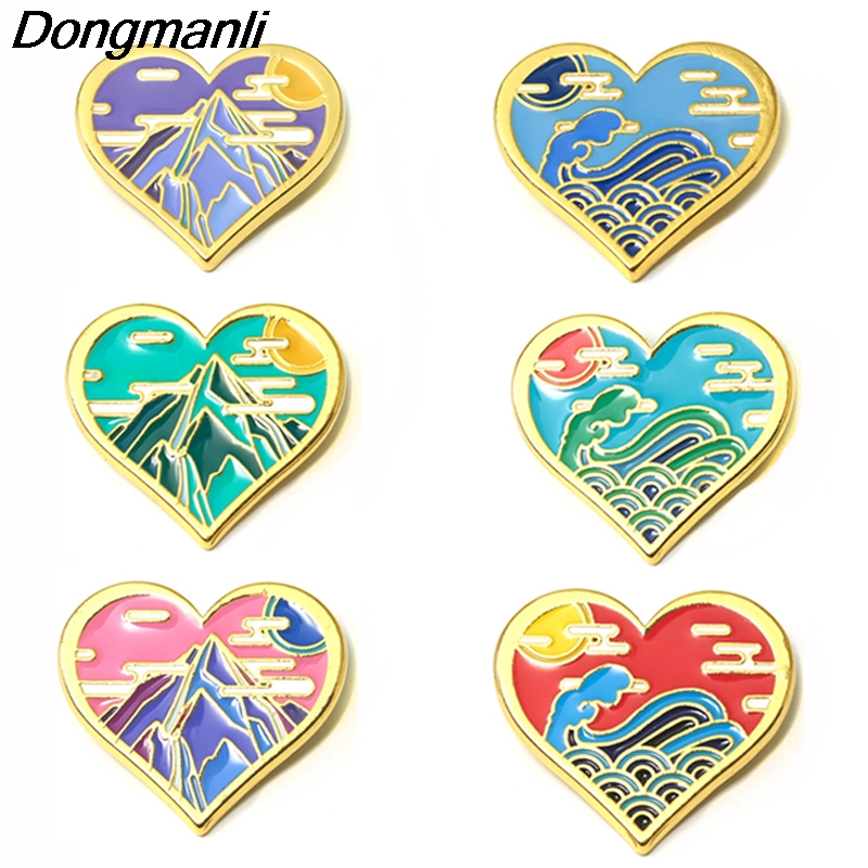 P3939 Dongmanli Landscape Heart-shaped Jewelry Metal Enamel Pins and Brooches for Lapel Pin Backpack Bags Badge Gifts