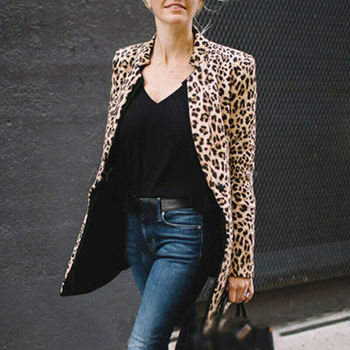 Fashion Women Leopard Print Jacket Coat Winter Warm Overcoat Outwear Cardigan Ladies Sexy Slim Casual Coat