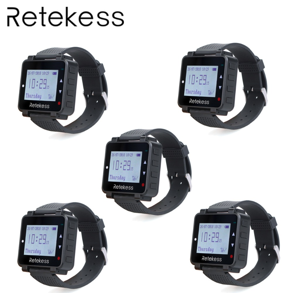 5pcs RETEKESS T128 Watch Receiver 433 92MHz For Wireless Calling System Waiter Call Pager Restaurant Equipment