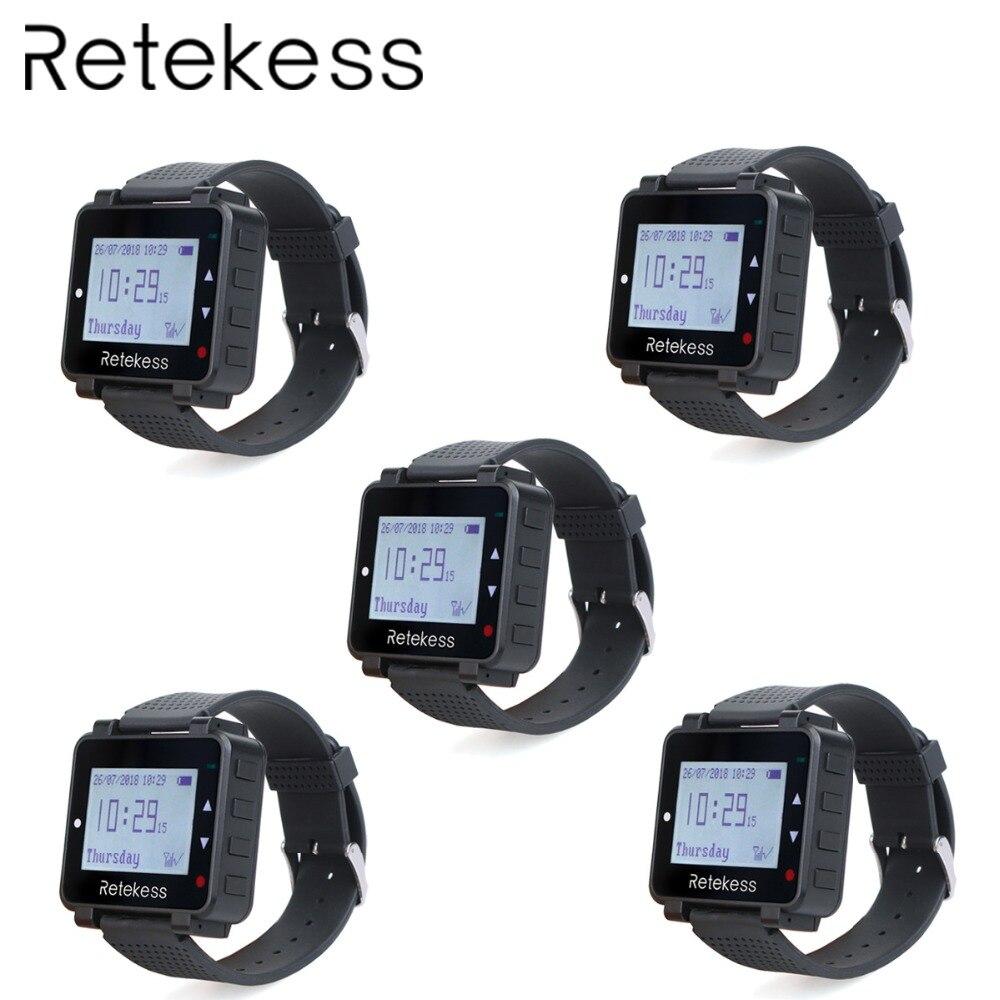 5 pièces RETEKESS T128 Récepteur de Montre 433.92MHz Pour Le Système D'appel Sans Fil Serveur Téléavertisseur D'appel Équipement De Restaurant Service Client