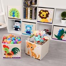 Bonito dobrável caixa de armazenamento brinquedos do miúdo organizador animal bordar cubos diversos recipiente escritório papelaria cesta acessórios para casa