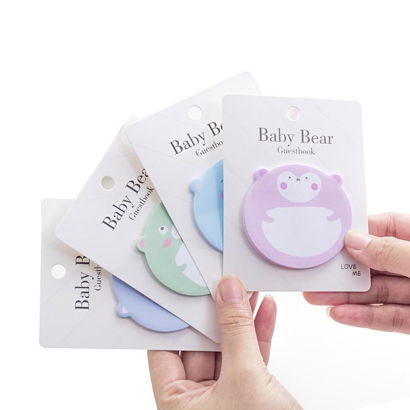 Korean Bear Animal Memo Pad Funny Sticky Notes Cute Kawaii Sticker Notepad Stationery Memopad Study Bts Accessory Index Tab Post