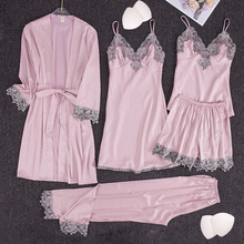 Sleepwear 5pieces-Set Nightwear Satin Lace Silk Thin Women Casual Deep-V-Neck Soft Female