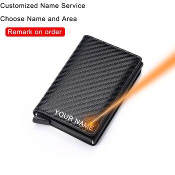 DIENQI billeteras de fibra de carbono para hombre, marca Rfid, Negro Mágico, Trifold de cuero, Mini billetera, monedero pequeño, monederos masculinos