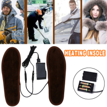 Heating Heated Shoe Insoles Warmer Electric Foot Brown Unisex Snow Winter Skiing Camping Keep Warm