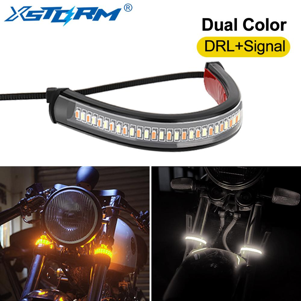 1Pc Universal LED Motorcycle Turn Signal Light & DRL Amber White Moto Flasher Ring Fork Strip Lamp Flashing Blinker 12V
