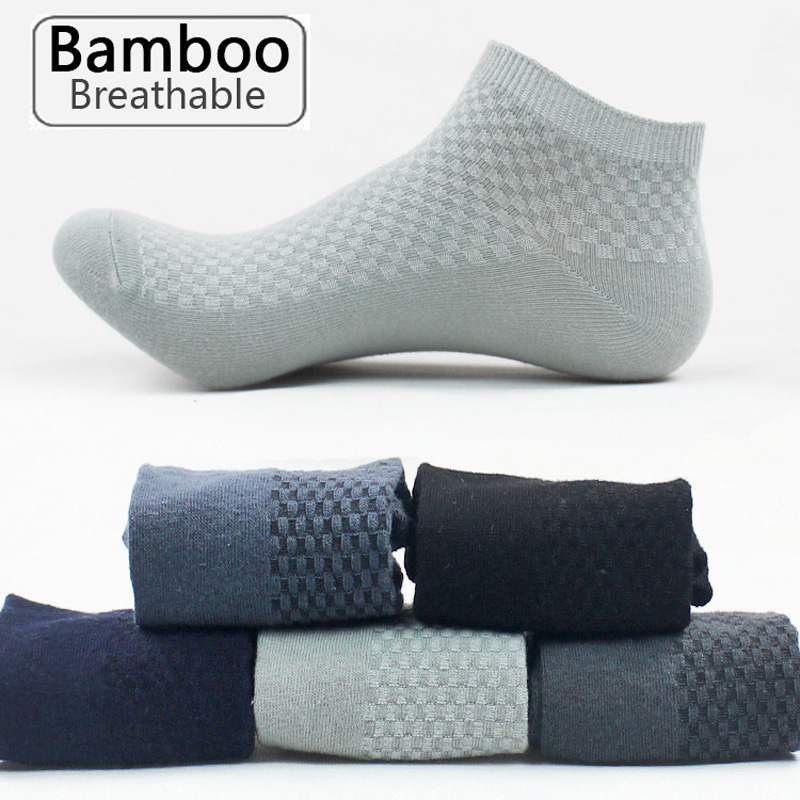 5 Pairs/lot Men's Bamboo Fiber Socks Business Short Breathable Ankle Socks Male Sock High Quality Large Size EU39-48