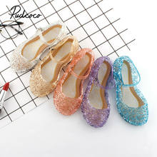 Brand 2019 New Fashion Baby Girls Kids Summer Crystal Sandals Princess Toddler Cute Fancy Crystal Jelly Flat-Heeled Shoes(China)