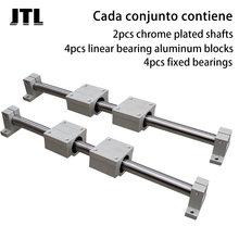 Eixo linear trilho od8/10/12/16 300-800mm eixo óptico + 4 peças scsuu blocos de rolamento linear + 4 pçs de eixo apoio para impressão 3d