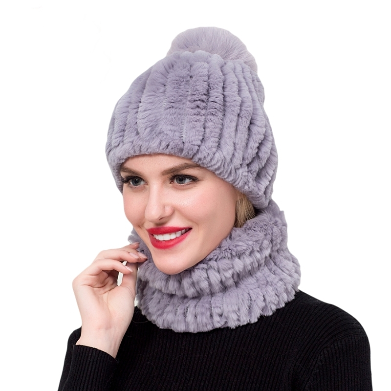 ZDFURS*Winter 100% Real Rex Rabbit Fur Women Hat Scarf Sets Female Ladies Caps Scarves