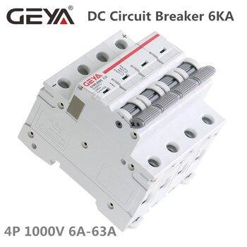 GEYA MCB DC 1000V MCB Mini Circuit Breaker DC 6A 10A 16A 20A 25A 32A 40A 50A 63A 4 Poles IEC60947 new lv429573 circuit breaker compact nsx100b tmd 50a 4 poles 4d