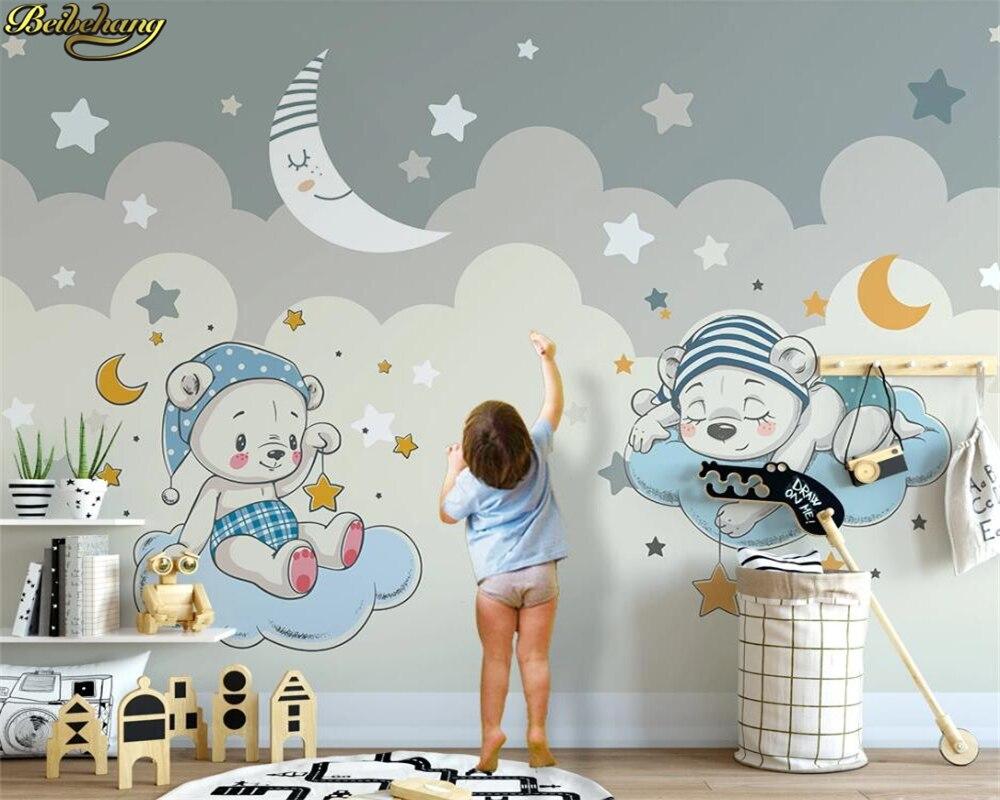 Beibehang 3d Custom Wallpaper Mural Cartoon Bear Moon Children Room Background Wall Paper Papel De Parede 3d Wallpaper