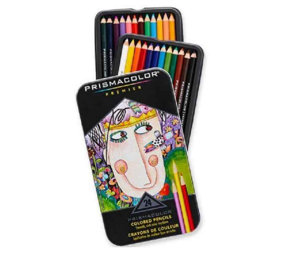 Lápiz de dibujo de grado artista de 24 colores lápiz graso 3,8 MM suave gran núcleo pintura lápiz lapislázuli de CO Sanford Prismacolor lápiz al óleo