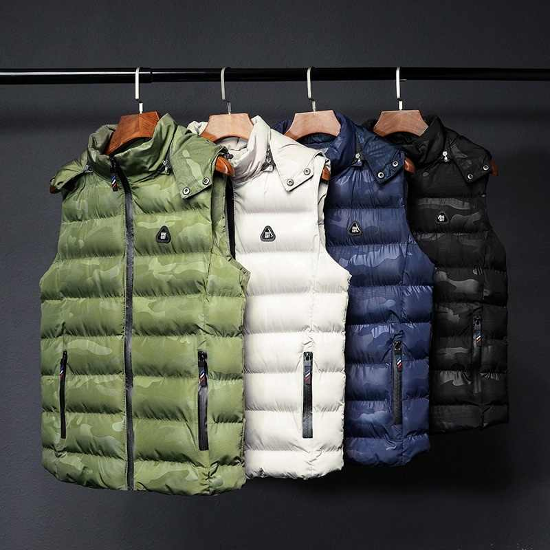 New Men Vest Jackets Warm Thick Autumn Winter Casual Hooded Coat Sleeveless Male Solid Zipper Hoodies Down Waistcoat Outdoor