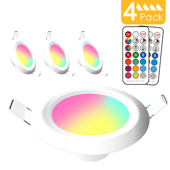 Dimmable LED Spot light 7W round downlight RGB Recessed Spot Ceiling 220V 110V RGBW Color Changing Lamp for Room Bedroom Outdoor