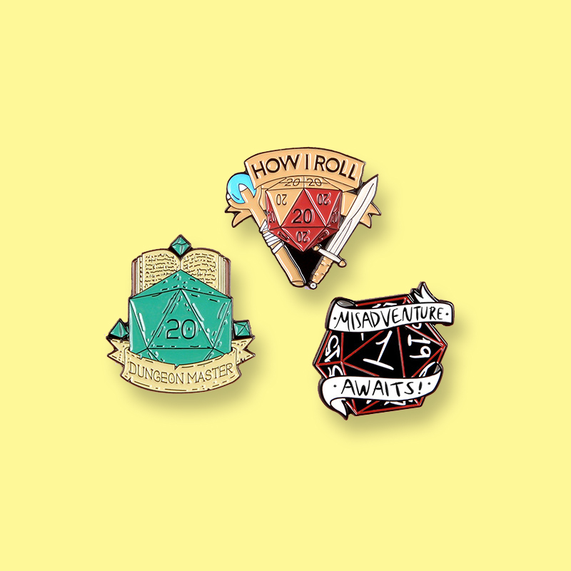 Dungeons and Dragons Sides Enamel Pin Swordsman Mage Board Game Badge Brooch Denim Clothes backpack Jewelry Gift For Friends