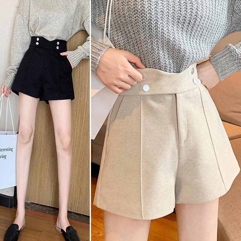 Fashion Women Shorts Elastic Woolen Pant Female Plus Size Casual Harem Pants Spring Winter Wool Short Pants New