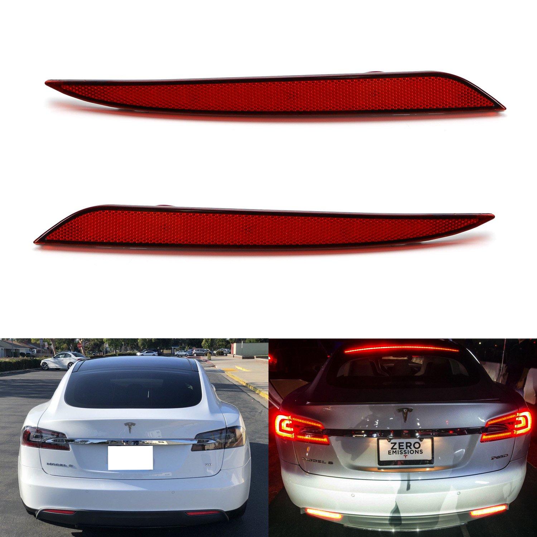 2PCS For Tesla Model 3 S X LED Rear Bumper Reflector Light Red Car Driving Brake Stop Fog Trim Molding Tail Lamp 2012 2020