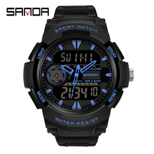 SANDA New S Shock Men Sports Watches Big Dial Sport Watches For Men Luxury Brand LED Digital Military Waterproof Wrist Watches cheap 7 45inch Plastic Folding Clasp with Safety 5Bar Fashion Casual Digital Wristwatches 52 74mm Resin 17 35mm Hardlex Stop Watch