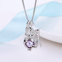 2019 New Fashion Mermaid Pendant Necklace Delicate Lovely Collarbone Chain Charm Purple Freshwater Pearl Necklace Women Jewelry(China)