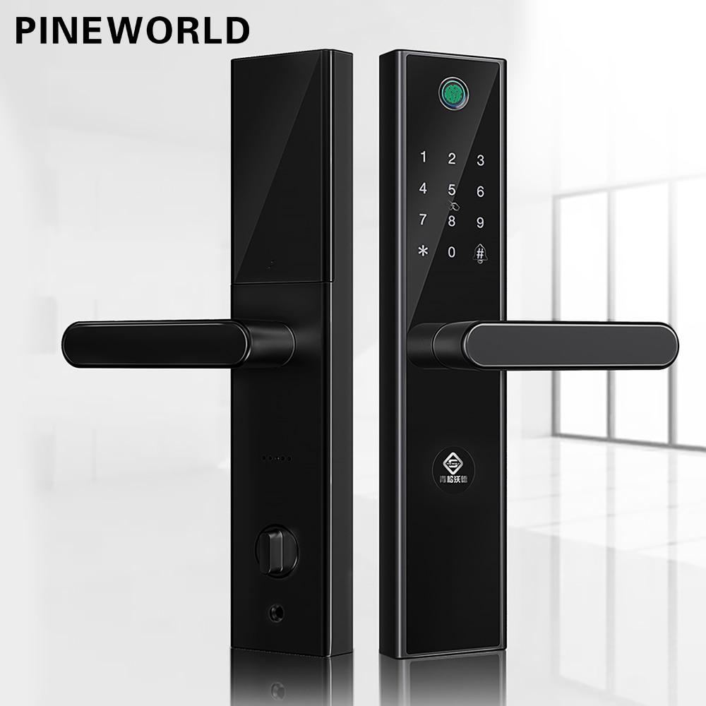 PINEWORLD L5 Fechadura Biométrica Da impressão digital Inteligente Com WiFi Senha de Segurança RFID Bluetooth APP Remoto Desbloquear