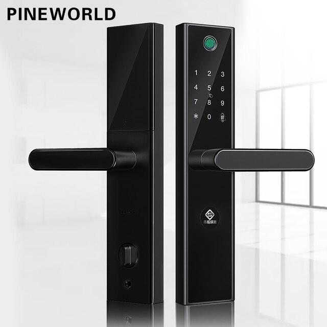 PINEWORLD L5 ความปลอดภัยอัจฉริยะ Biometric ลายนิ้วมือล็อค WIFI รหัสผ่าน RFID บลูทูธ APP ระยะไกล