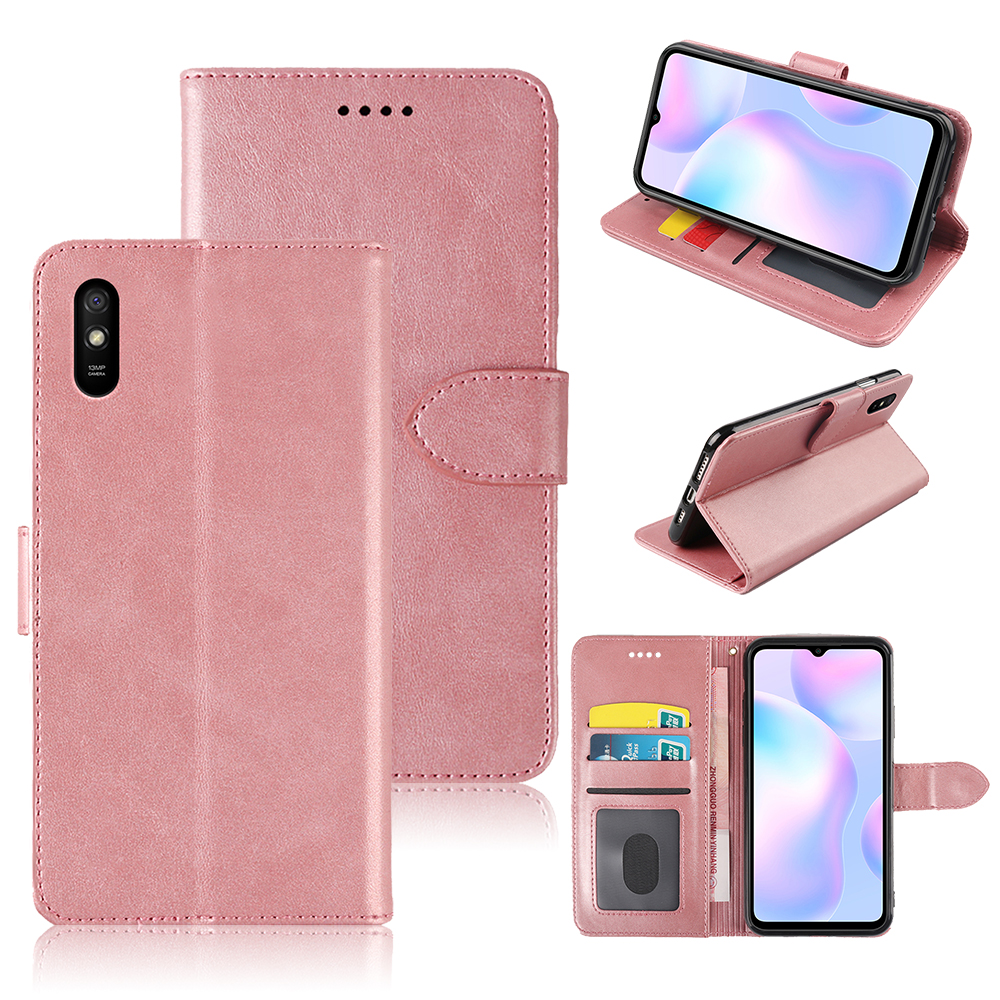 AVEOLELA 2020 For Xiaomi Redmi 9A Case Hot Sale High Quality Scratch-Resistant Compact Cover Plain Leather Wallets Flip Cover